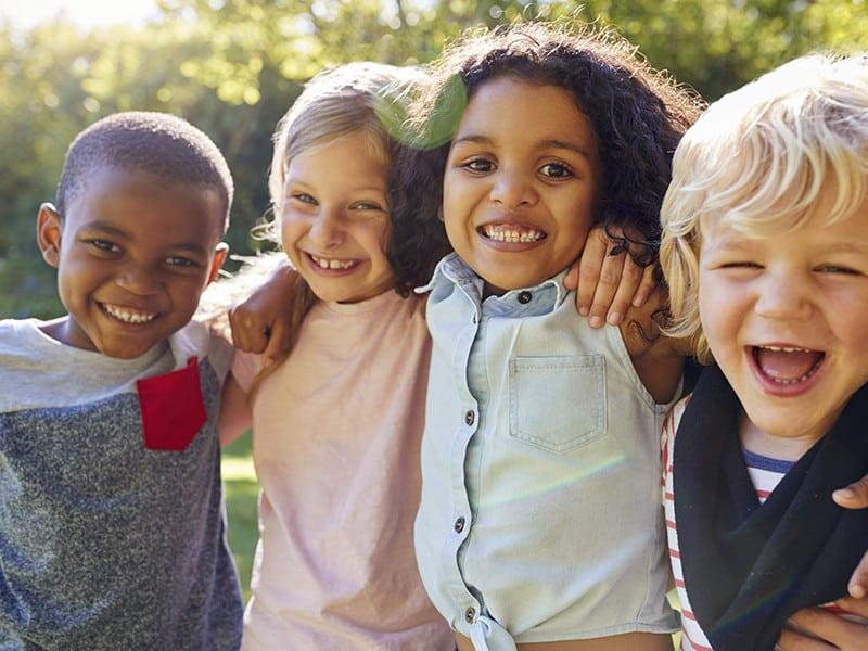 Group of children outside